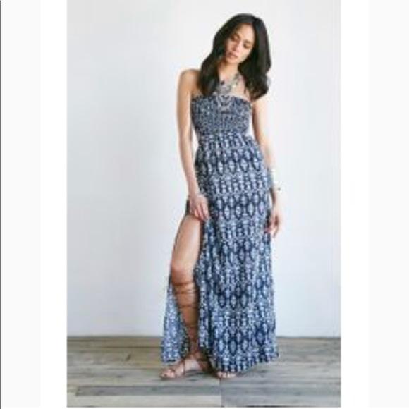 Forever 21 Dresses Ikat Print Cutout Maxi Dress In Navy Poshmark